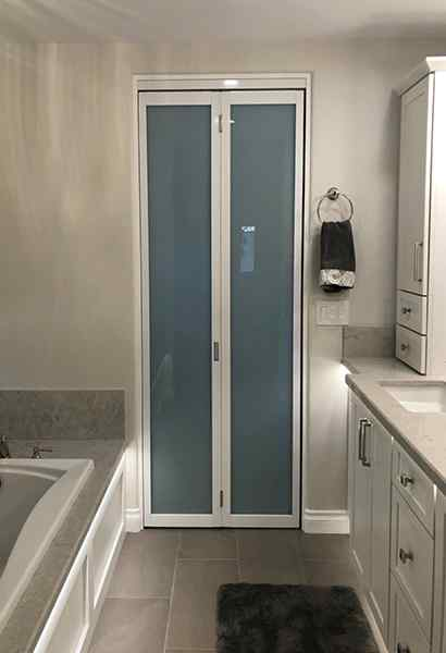 2 Door Bifold White Frame Laminated Glass Solo Bathroom Closed