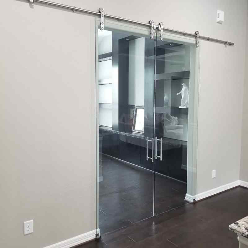 crystal clear glass office suspended barn doors