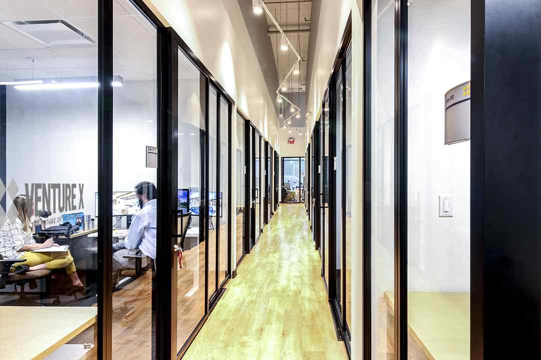 5 Fixed Panel black frame clear glass coworking spaces
