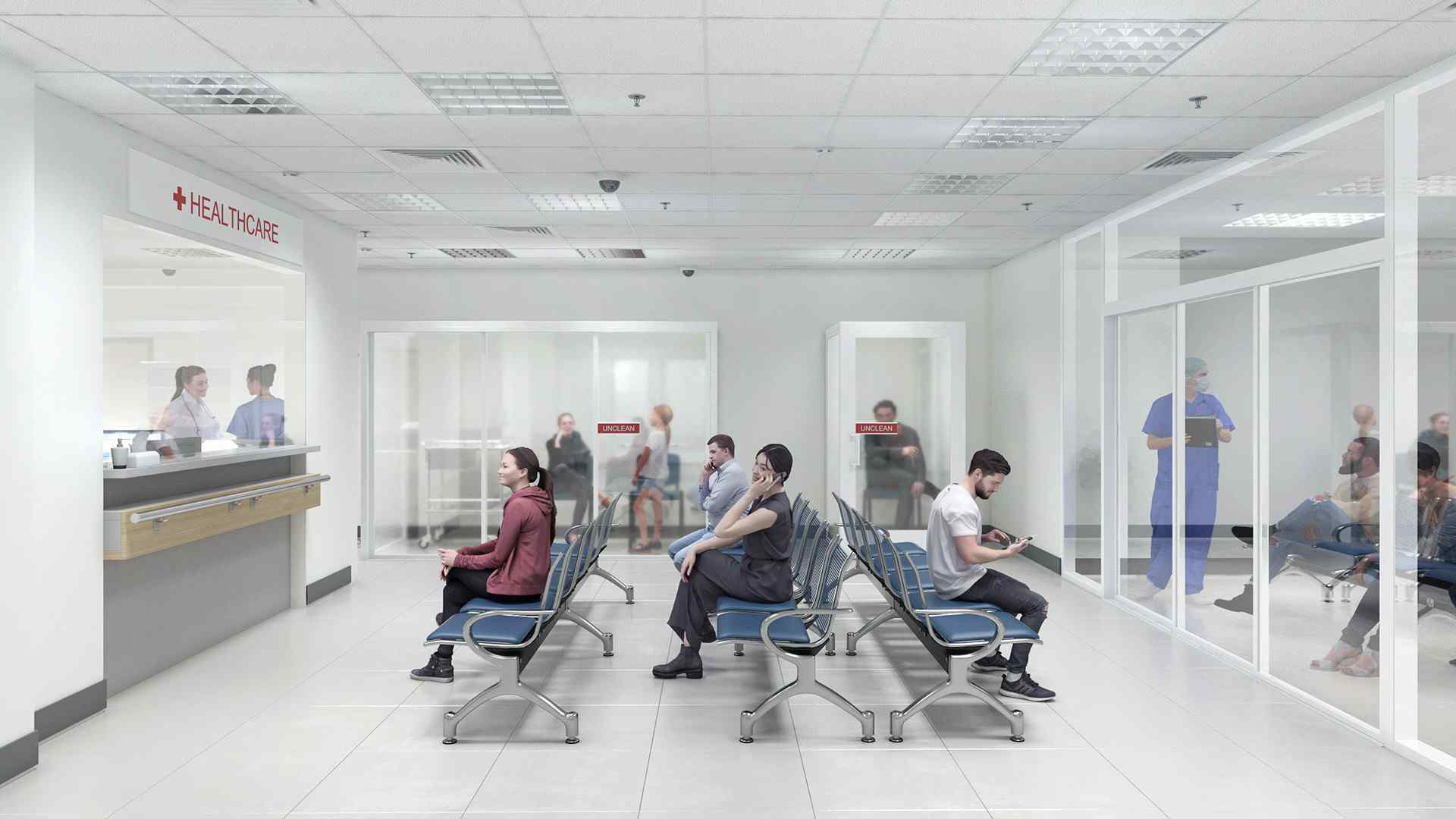 Medical waiting room space dividers