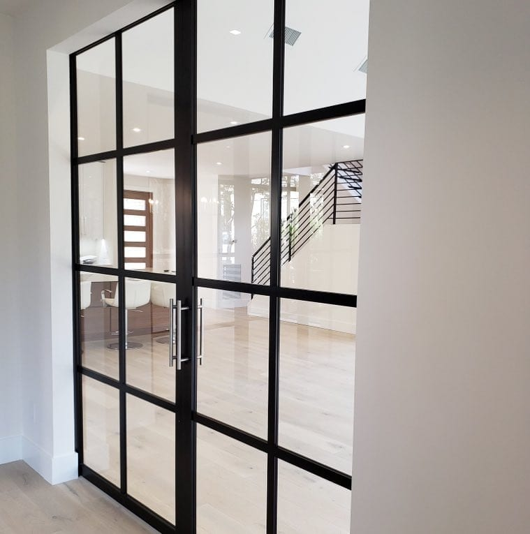 Double-Suspended-Barn-Door-Black-Frame-Clear-Continental-Closed-Side-B-Best