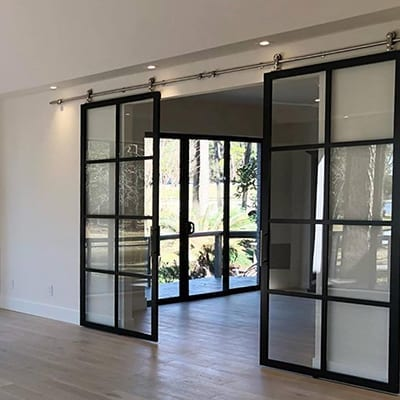 Double Suspended Barn Door , Black Frame, Clear, Continental, Part open, Best-Thumbnail