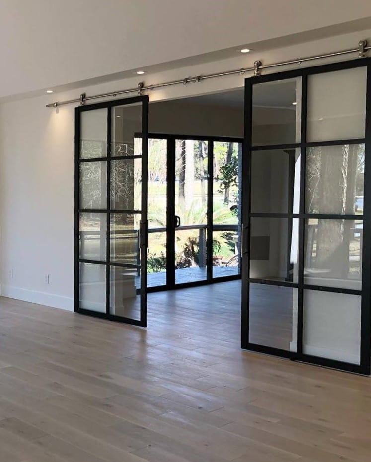 Double Suspended Barn Door , Black Frame, Clear, Continental, Part open, Best