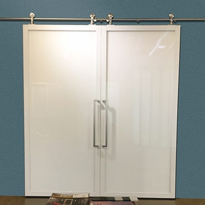 Double Suspended Barn Door white laminated extended square designer handle-Thumbnail