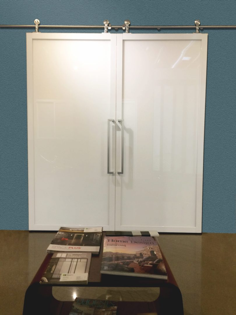 Double Suspended Barn Door white laminated extended square designer handle