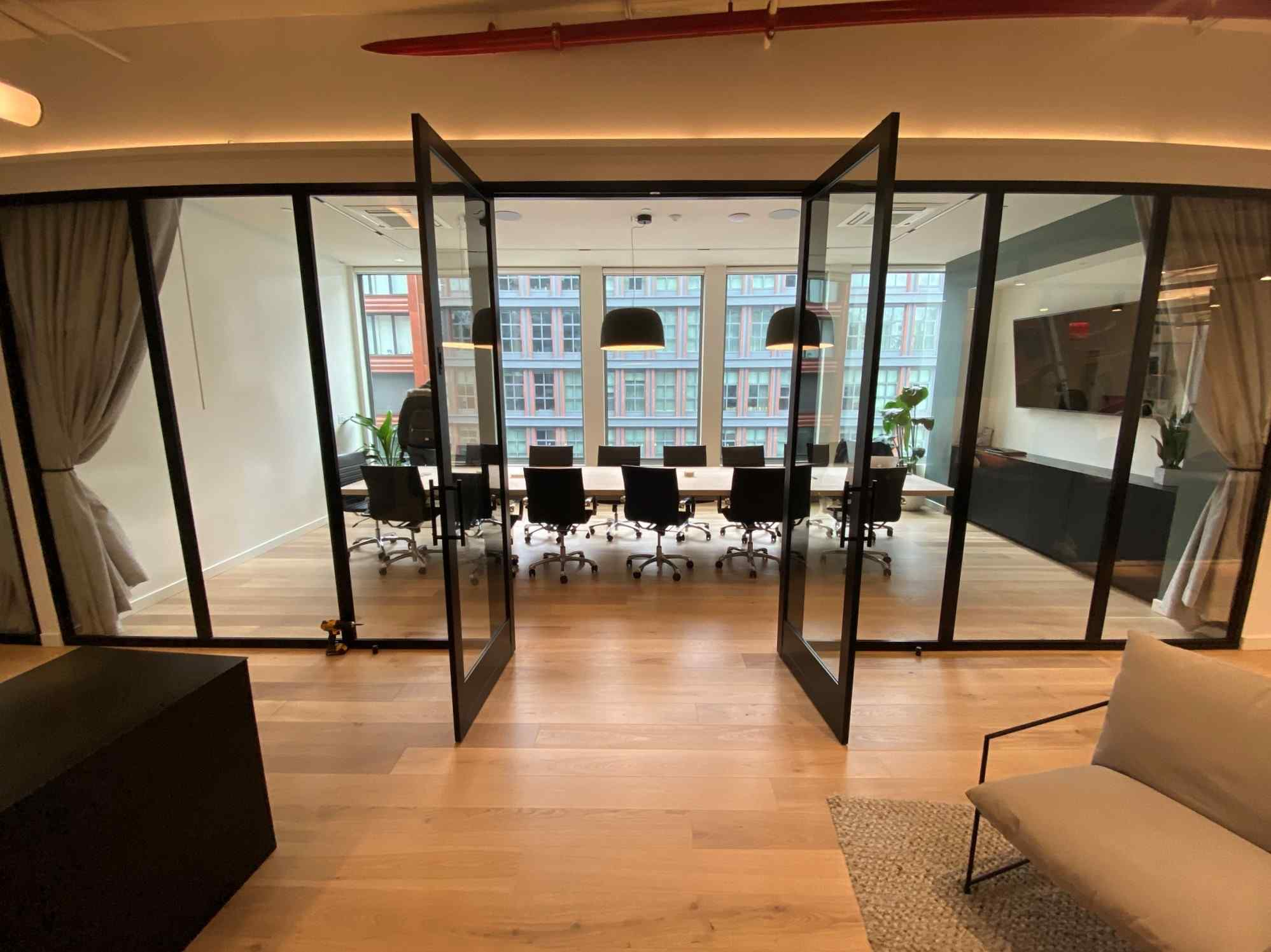 Double Swing Door Fixed Panel Conference Room Open Office Fronts Black Clear Solo Hallway