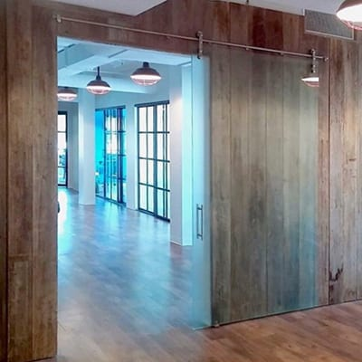 Frameless Glass Barn Door, frosted with handle-Thumbnail