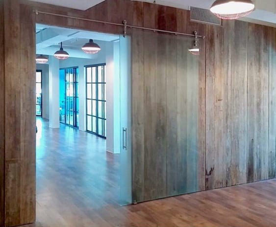 Frameless Glass Barn Door, frosted with handle