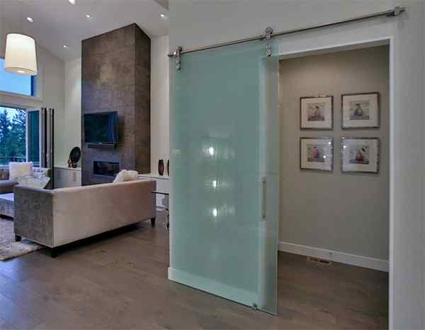 Frameless glass closet frosted