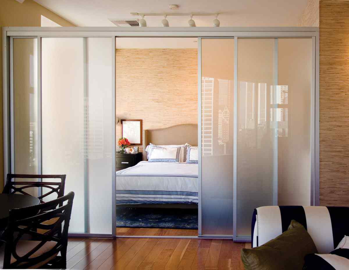 Frosted Glass Interior Sliding Room Divider