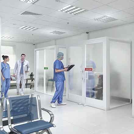 health care meeting room glass space dividers