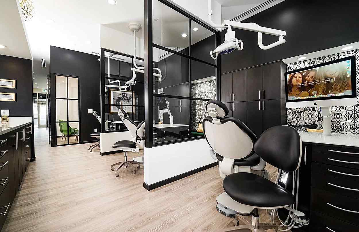 Orthodontics Office Black Clear Custom Continental Fixed Panels Privacy Partitions Between Stations Header and Knee Wall