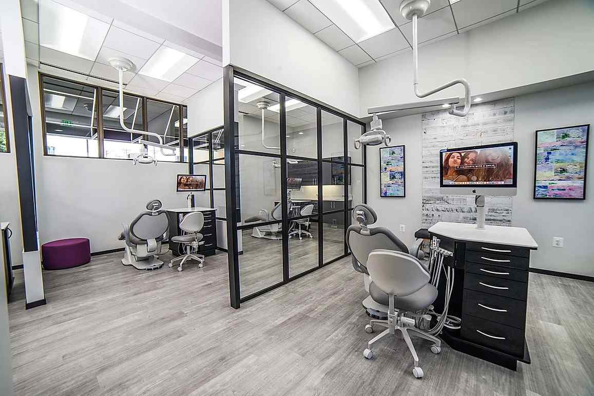 Orthodontics Office Black Clear Trio Fixed Panels Privacy Wall to Header