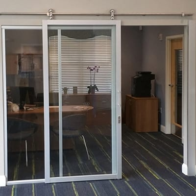 Suspended Barn Door, silver frame, clear glass, office-Thumbnail