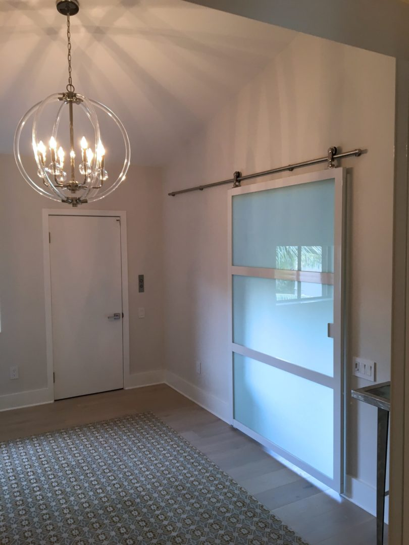 Suspended Barn Door - white frosted 2