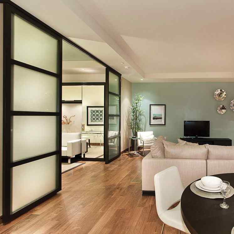 living room frosted glass sliding door