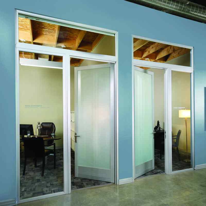 Swing Doors with fixed panels and transoms new kick