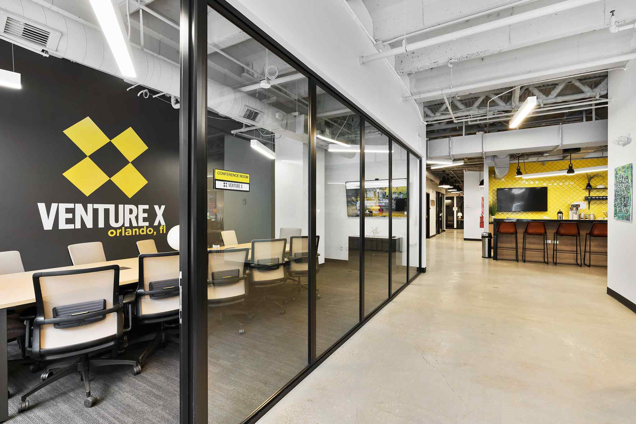 Venture X Fixed Panels Conference Room Orlando Coworking Office Black Clear