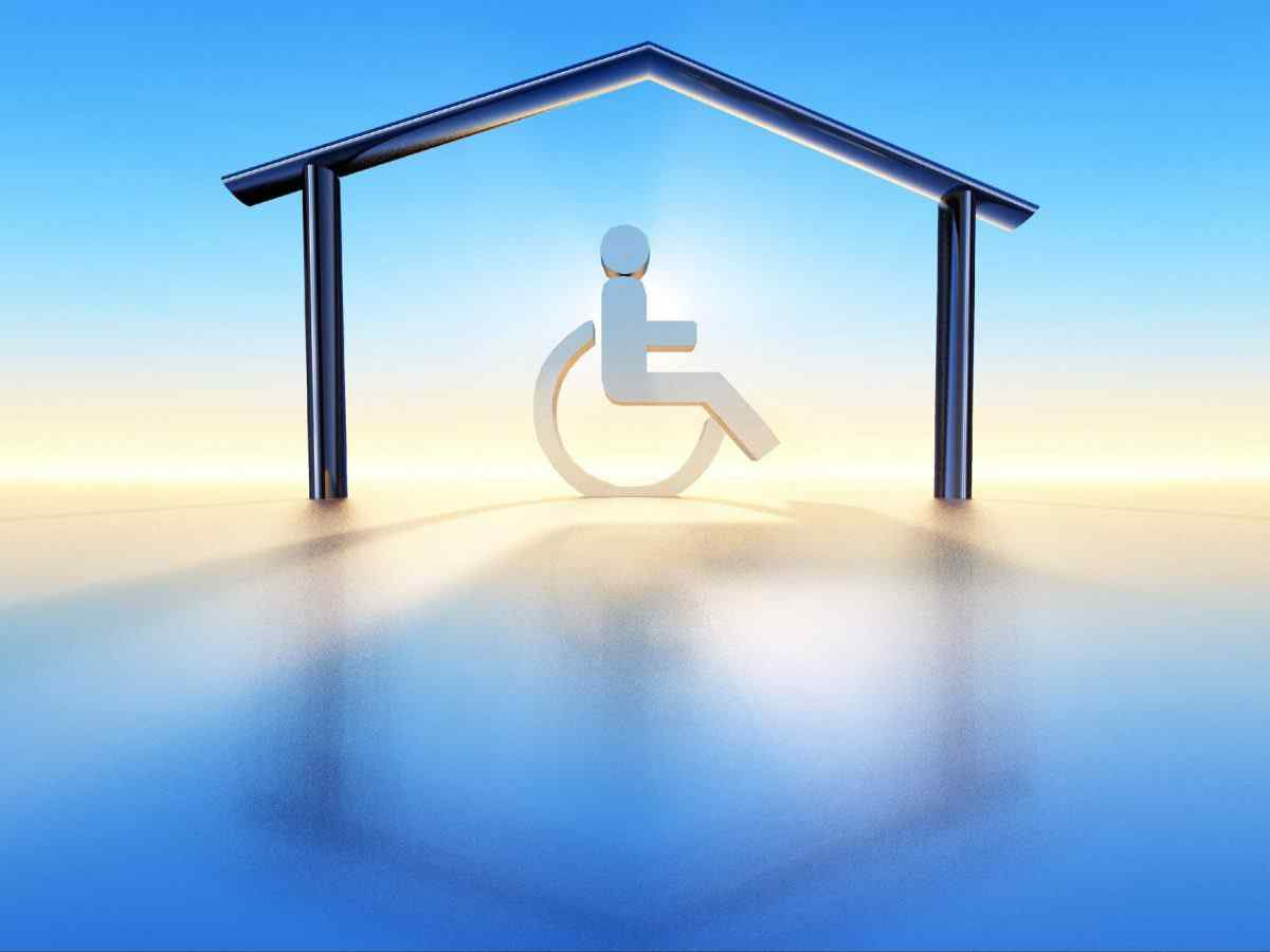 a wheelchair into a house structure