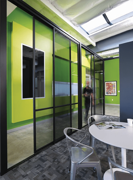 lunch room glass space dividers