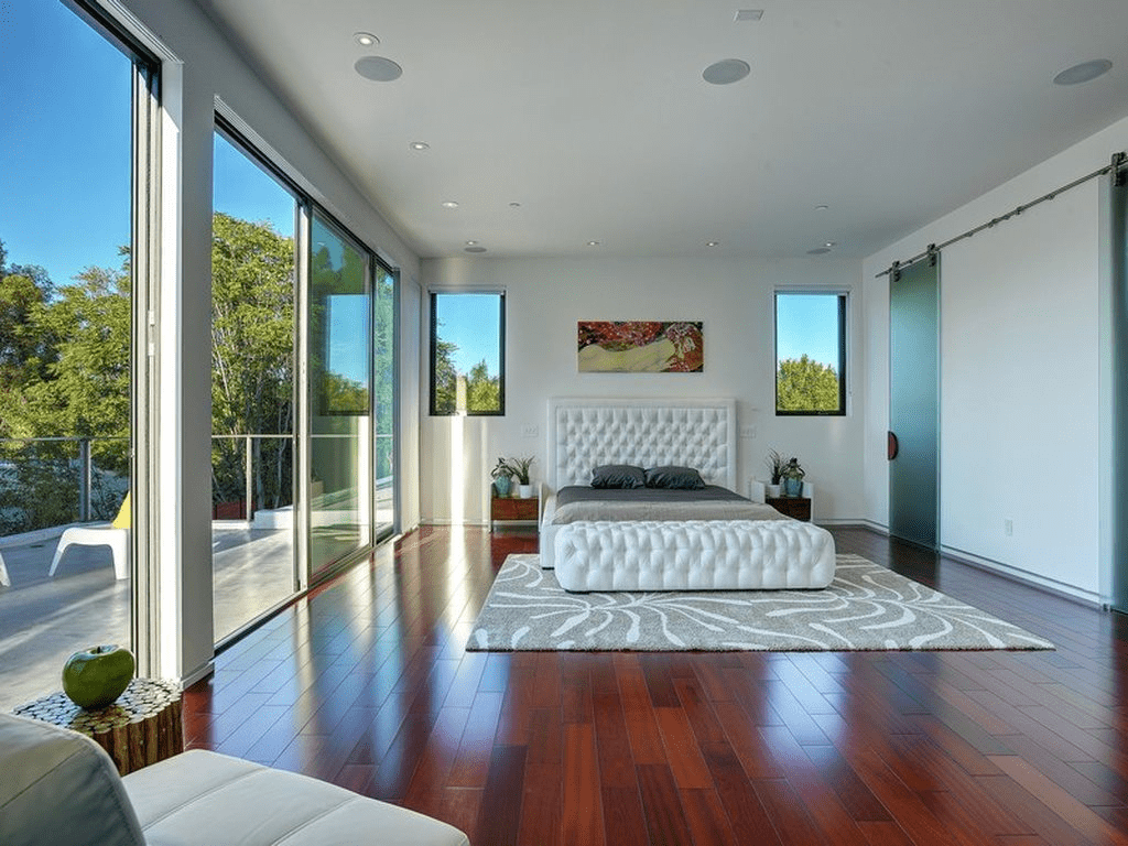 bedroom room interior with a huge view windows