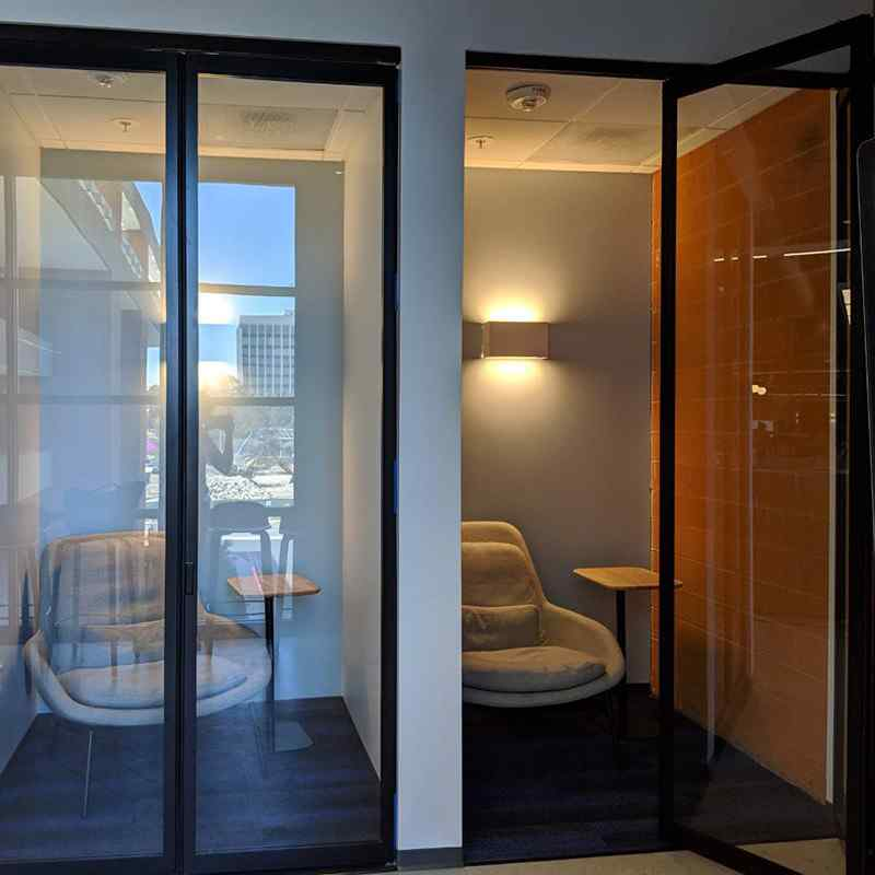 Bi folding door phone booth style private room