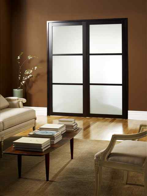 closed double swing doors french residential