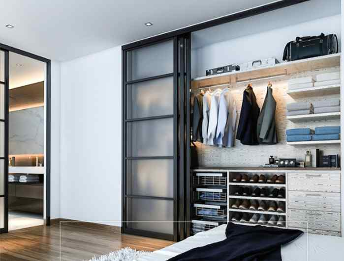 closet charcoal frame frosted glass