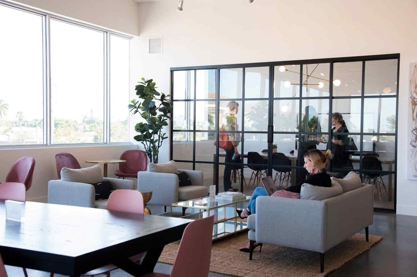 conference meeting room with clear sliding glass doors