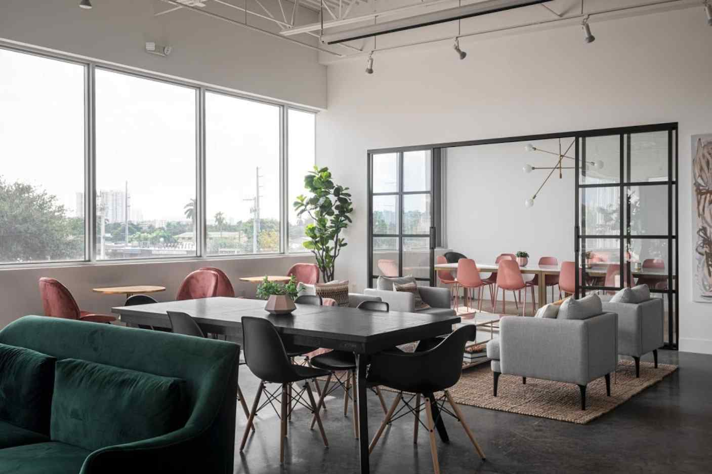 conference room with custom design bypassing sliding glass doors