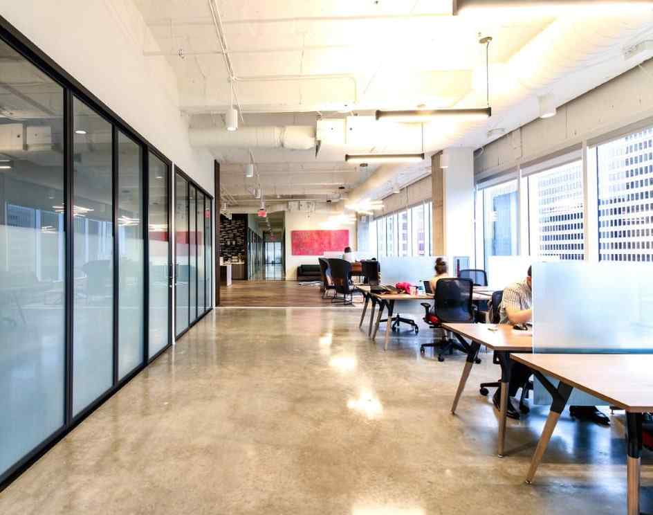 corporate hallway offices glass wall and doors