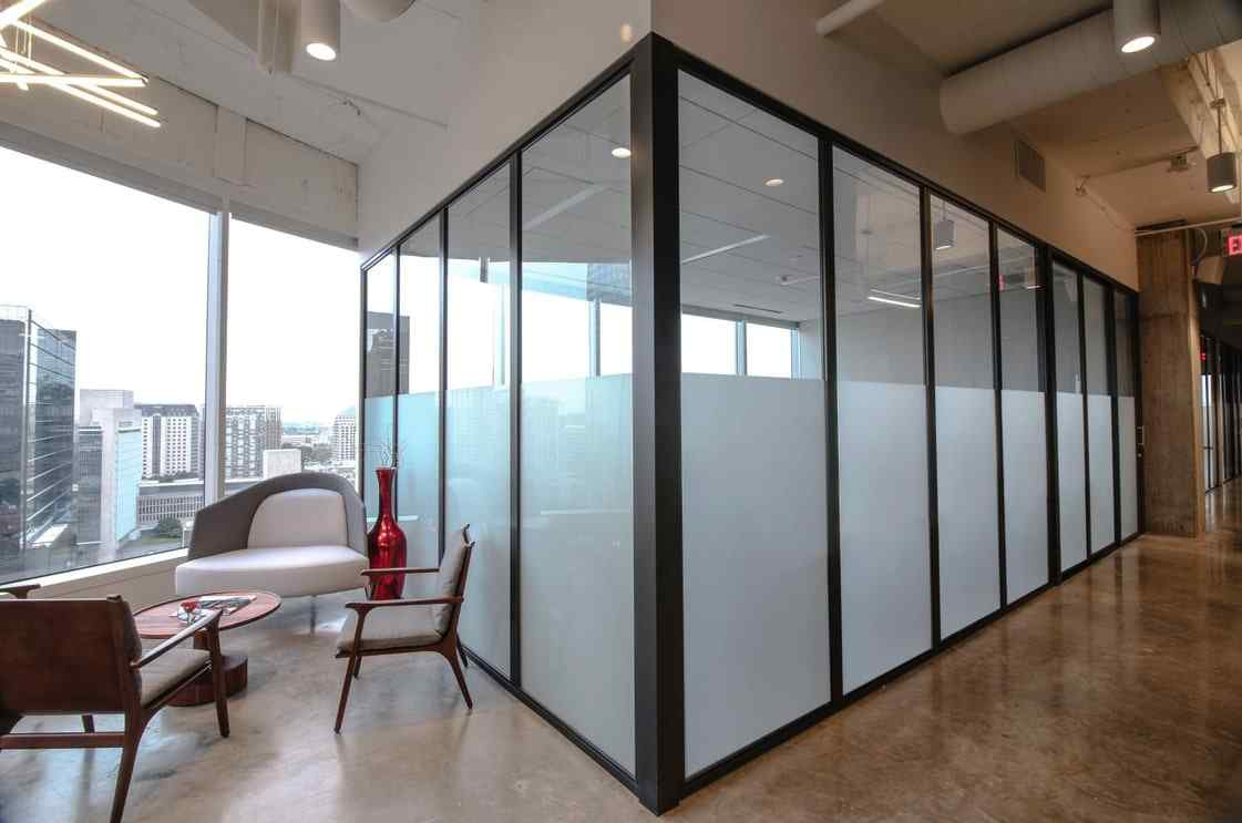 corporate office conference room l shaped glass walls