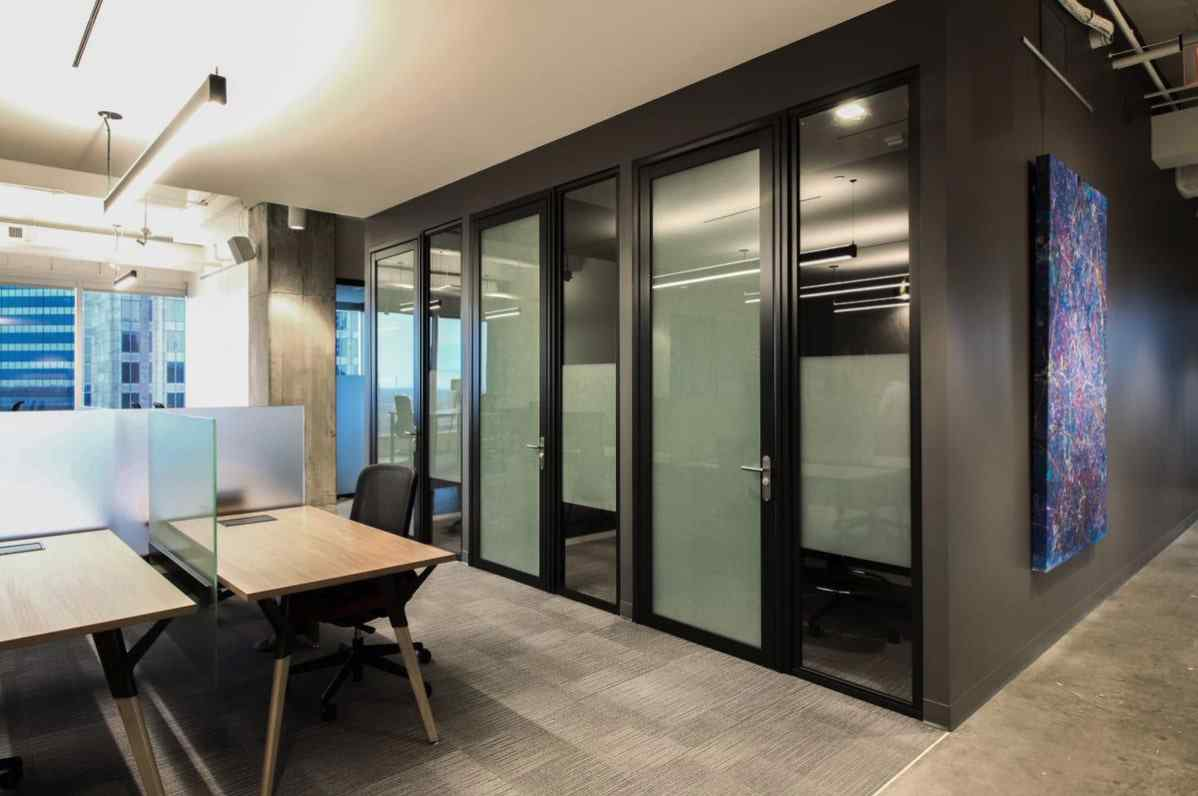 corporate office privacy phone booths with laminated glass swing doors