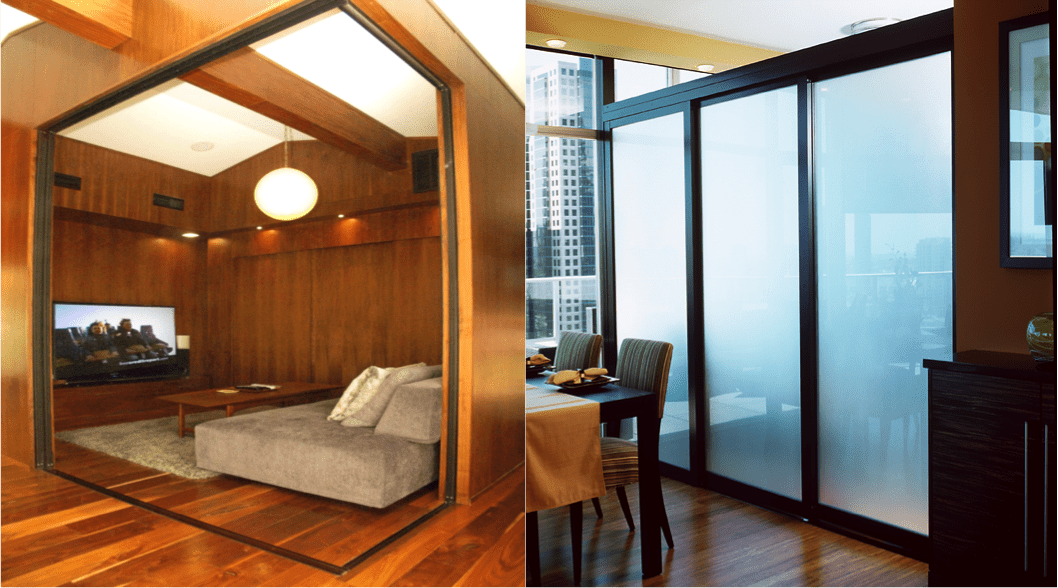 Functional glass room divider
