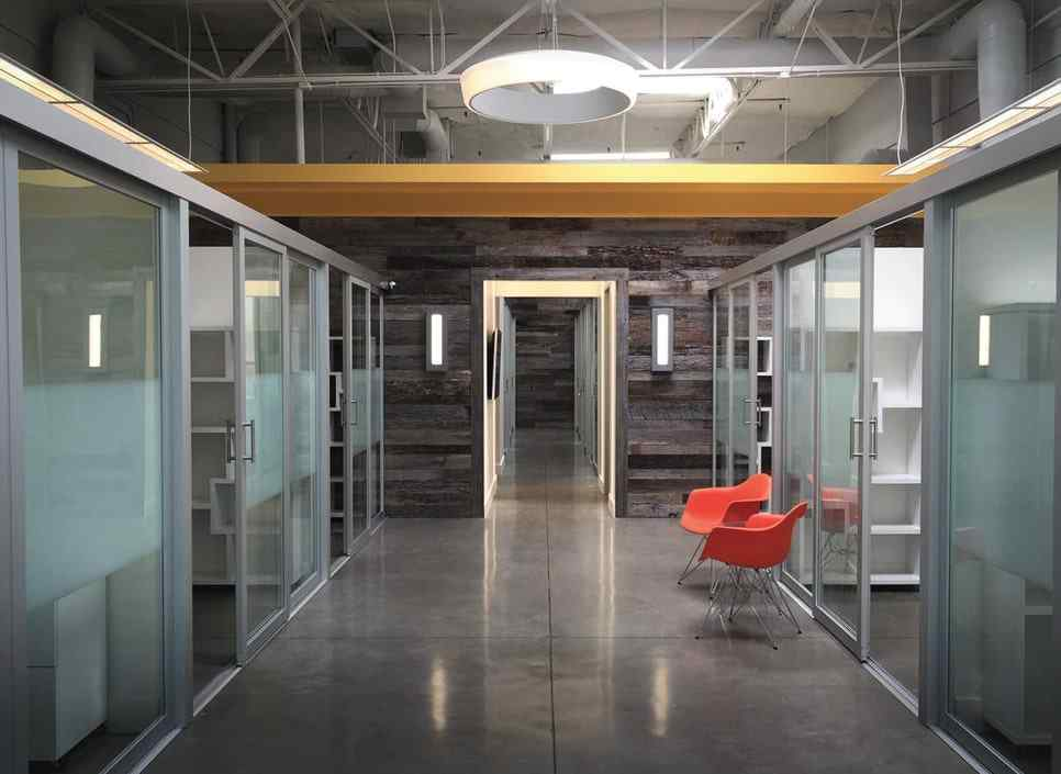 coworking offices with combination glass slide doors