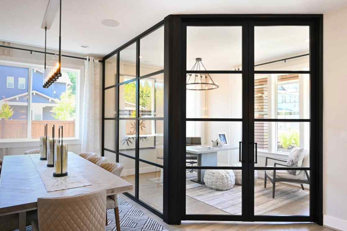 flex angle home office glass panel walls and glass swing door