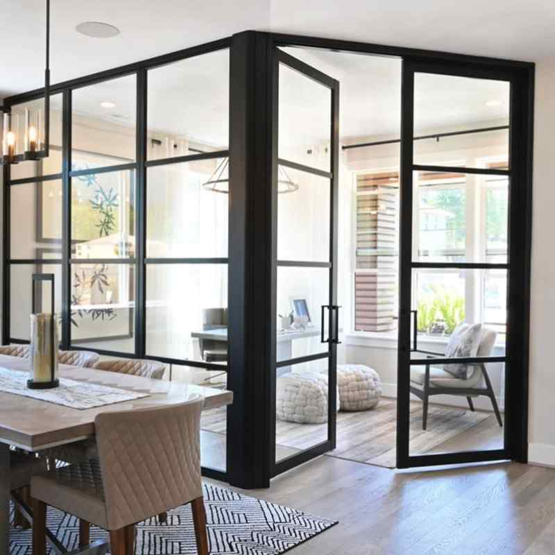 flex angle home office glass panel walls and partial open glass swing door