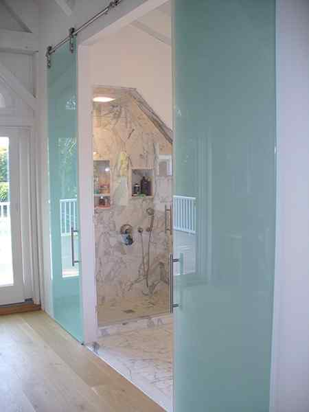 frameless Barn Door two Panels Frosted Glass Bathroom designer