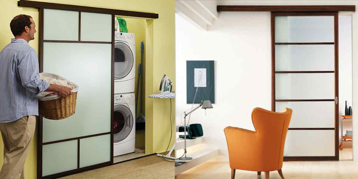 Space saver laundry room sliding closet door
