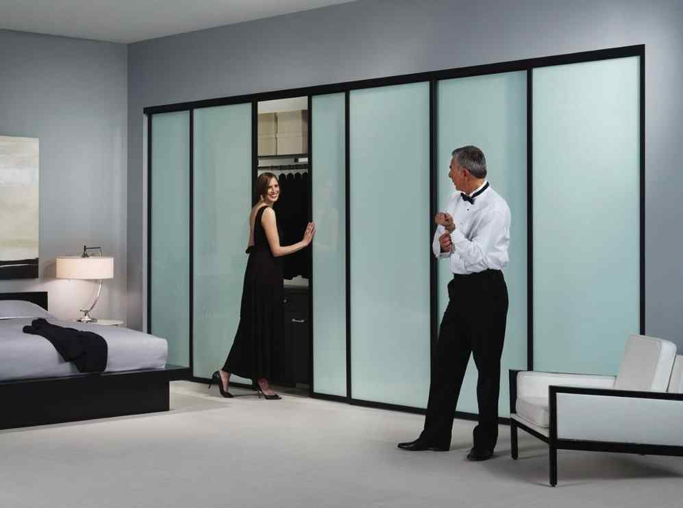 high end opaque frosted glass sliding closet doors