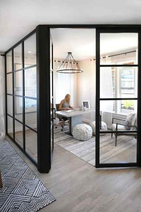home office room enclose glass wall panels and glass swing doors