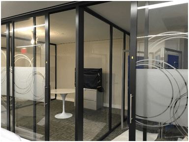 Office space glass wall dividers