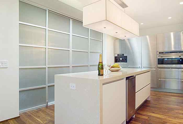 kitchen Room Divider Pentagon Design opaque glass slide doors