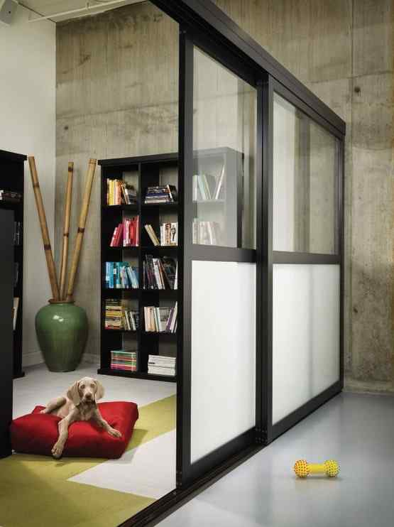 modern loft custom room divider with combo split glass doors