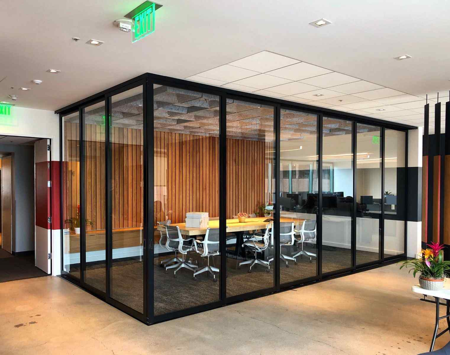 office conference room divider 6 Doors on 6 Tracks 3 Doors Triple Track Black 3 Inch Clear Solo Closed Best