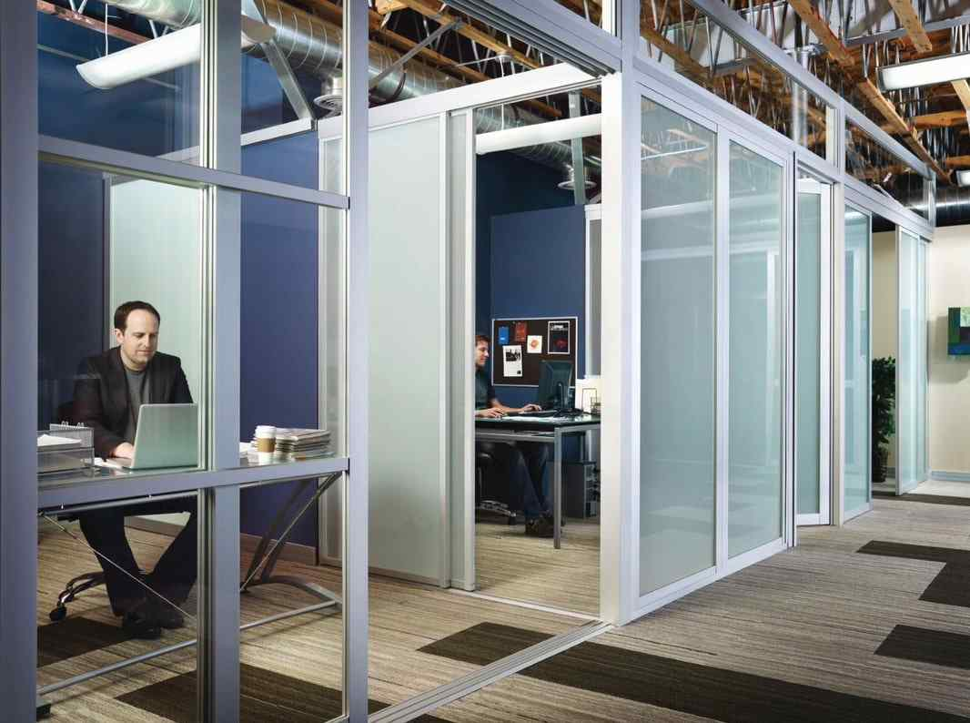 office coworking glass cubicle quibiglass system sliding glass door panels