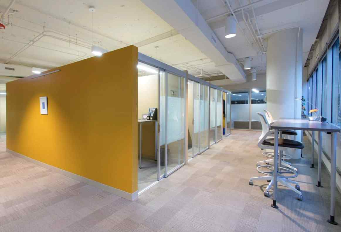 office cubicles qubiglass with sliding glass bypass doors with custom combo glass
