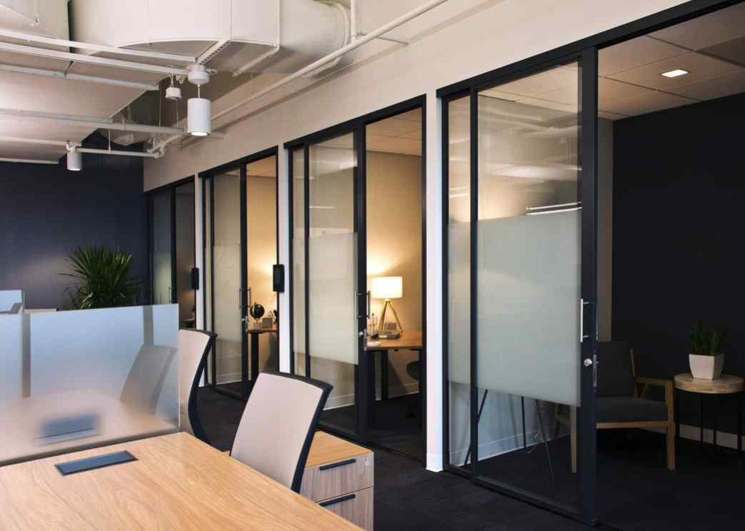 office privacy phone booths with glass wall and glass sliding bypass door