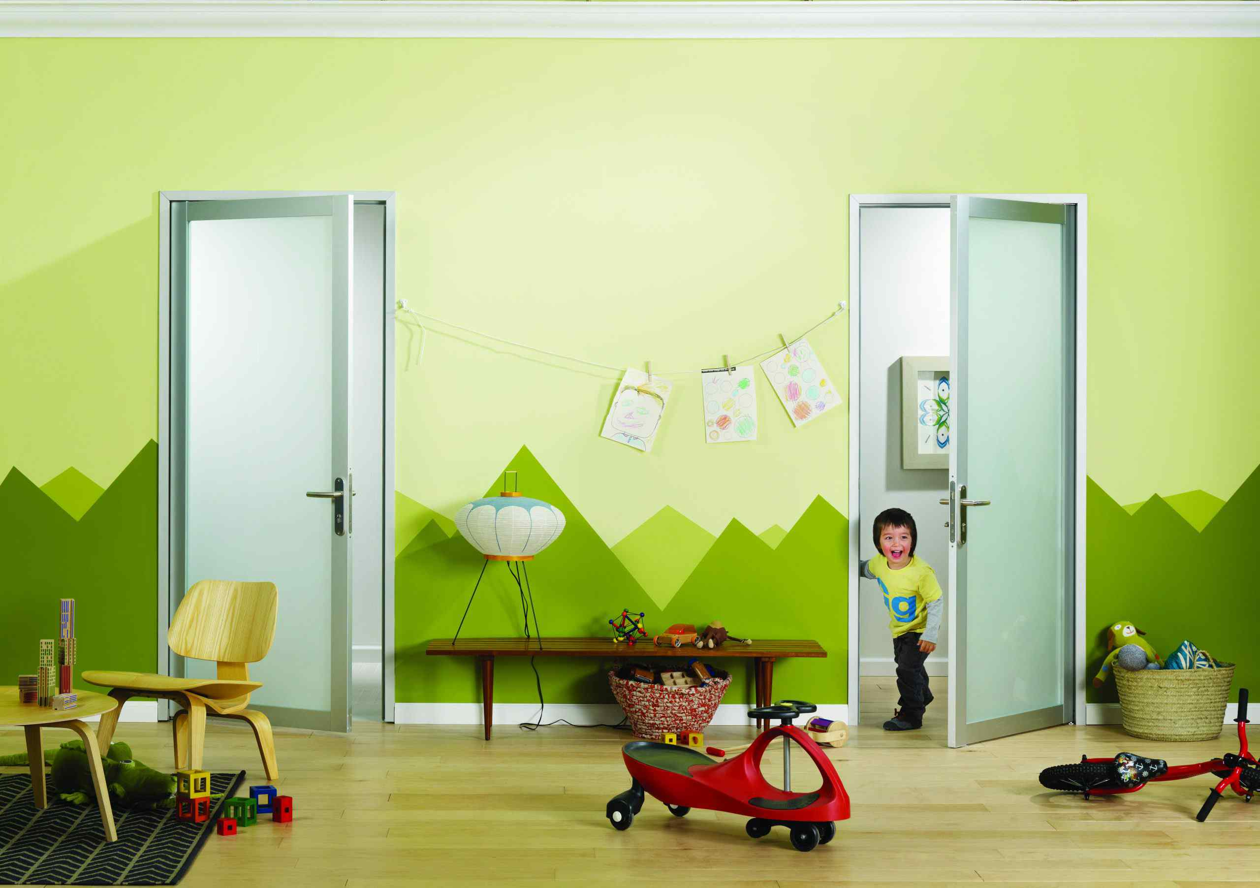 preschool kids playroom opaque frosted glass swing doors
