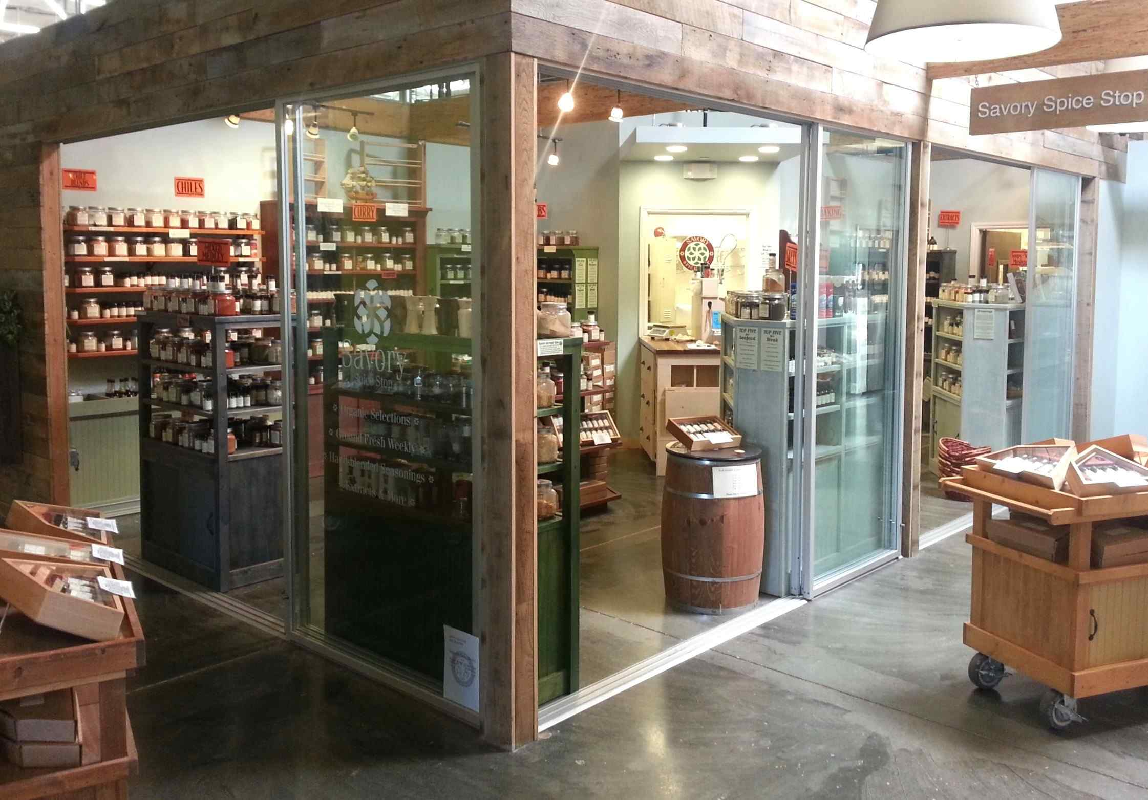 Small indoor retail shop with sliding glass doors